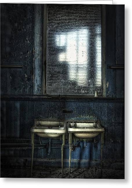 Bathroom Blues Greeting Card by Jason Green