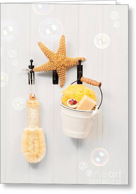Bathroom Door Greeting Card by Amanda Elwell