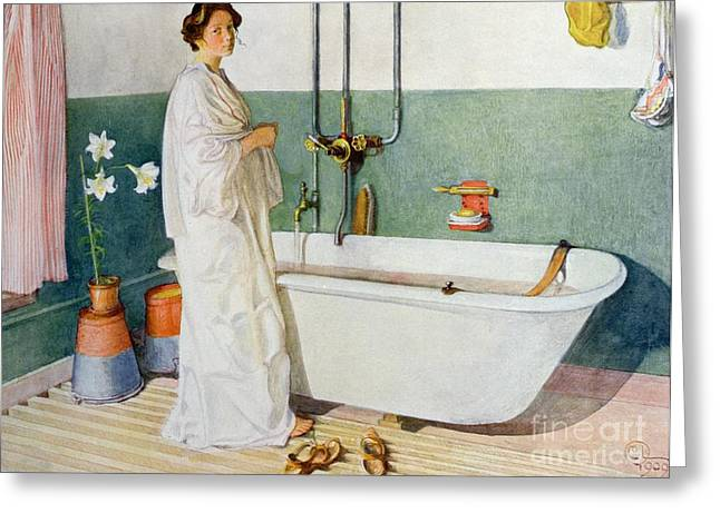 Bathroom Scene Lisbeth Greeting Card by Carl Larsson