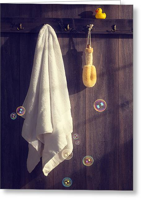Bathroom Towel Greeting Card by Amanda Elwell