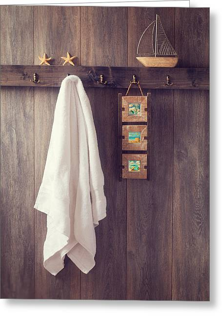 Bathroom Wall Greeting Card by Amanda Elwell