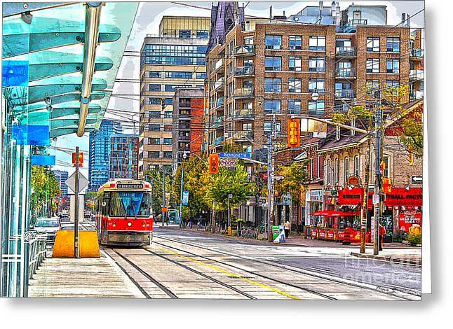 Bathurst Street Car Coming North To Queen Street Greeting Card