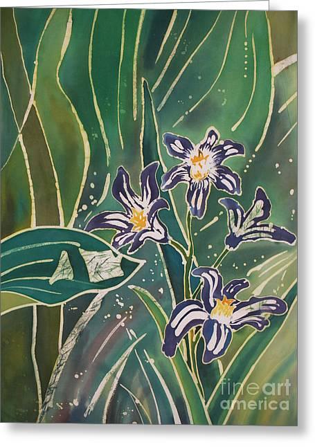 Batik Detail - Pushkinia Greeting Card by Anna Lisa Yoder