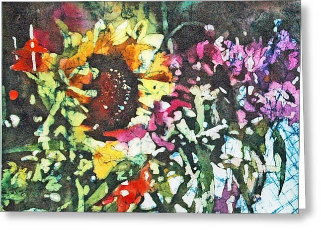 Batik Sunflower 1 Greeting Card