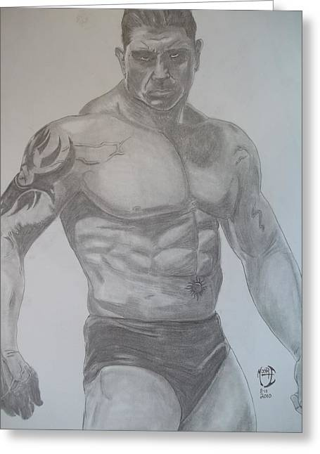 Greeting Card featuring the drawing Batista by Justin Moore
