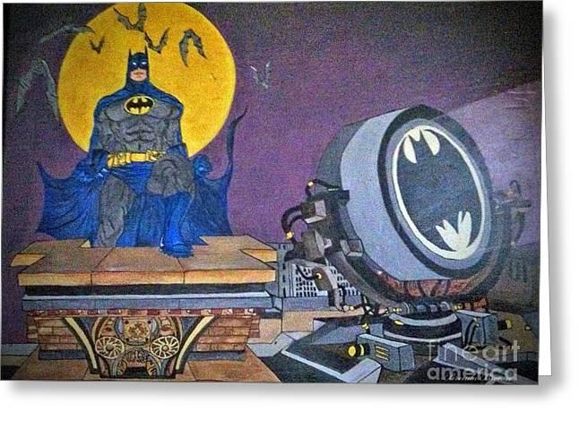 Batman And Beam Greeting Card by Brenda Brown