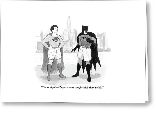 Batman And Superman Stand In Boxers Greeting Card