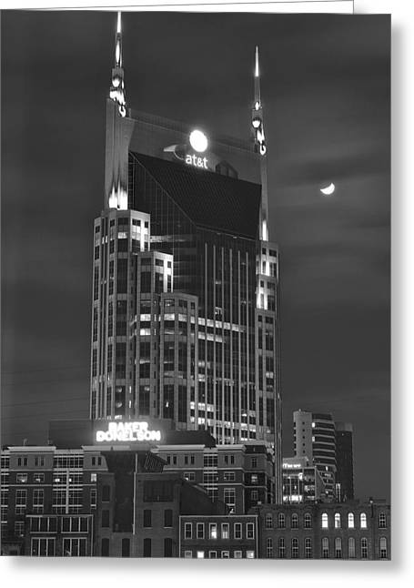 Batman Building Complete With Bat Signal Greeting Card by Frozen in Time Fine Art Photography
