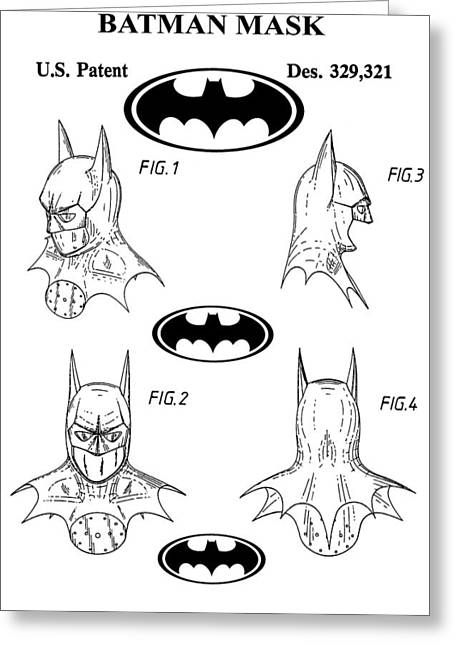 Batman Face Guard Greeting Card by Dan Sproul