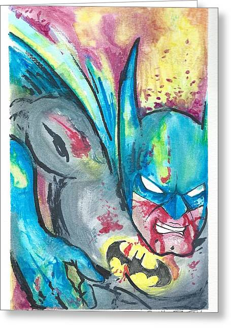 Batman In Combat Greeting Card by Nick Smithey