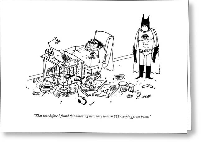 Batman Stands In The Filthy Room Of A Fat Greeting Card