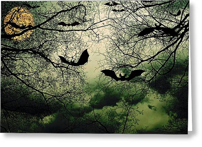 Bats From Hell Greeting Card by Barbara S Nickerson