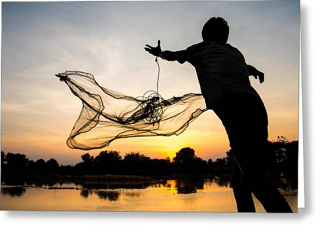 Sunset Fisherman Cambodia Greeting Card