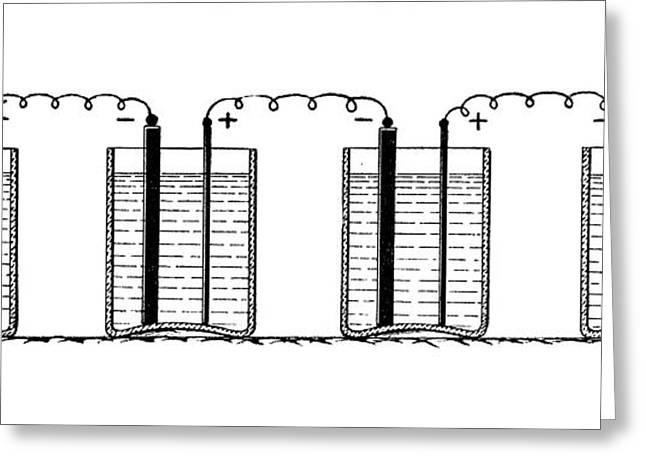 Batteries Connected In Series Greeting Card by Science Photo Library