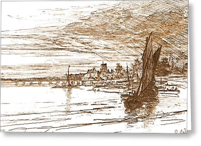 Battersea Bridge 1868 Greeting Card by Padre Art