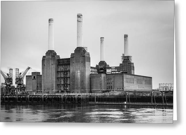 Battersea Power Station In Monochrome Greeting Card