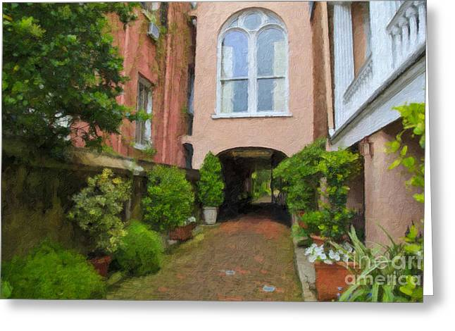 Battery Carriage House Inn Alley Greeting Card