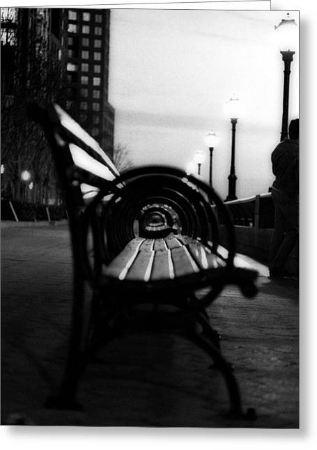 Battery Park Bench Greeting Card by Isaac Silman