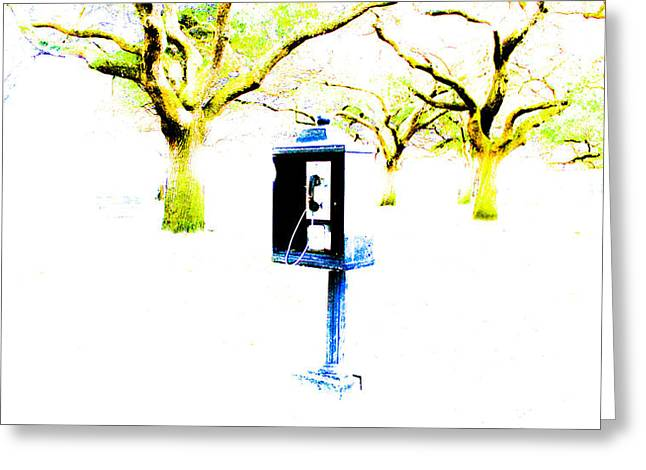 Battery Payphone Greeting Card by Philip Zion