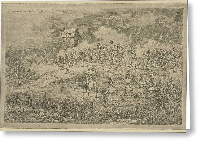 Battle Between Cavalry And Infantry, Print Maker Gerardus Greeting Card by Gerardus Emaus De Micault