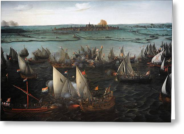 Battle Between Dutch And Spanish Ships On The Haarlemmermeer, 1629, By Hendrik Cornelisz Vroom Greeting Card
