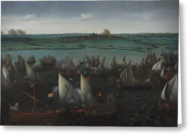 Battle Between Dutch And Spanish Ships Greeting Card