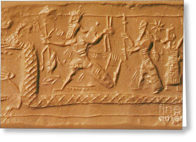 Battle Between Marduk And Tiamat Greeting Card by Photo Researchers