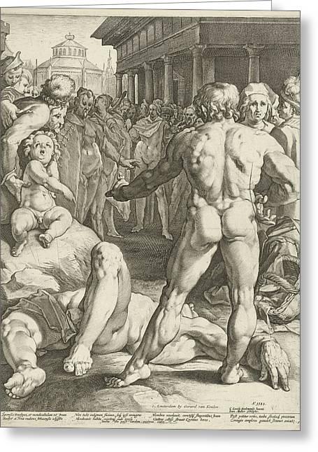 Battle Between Ulysses And Irus Greeting Card by Jan Harmensz. Muller And Gerard Van Keulen And Franco Estius