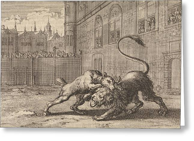 Battle In London Between A Dog And A Lion Greeting Card by Jan Luyken And Pieter Van Der Aa I