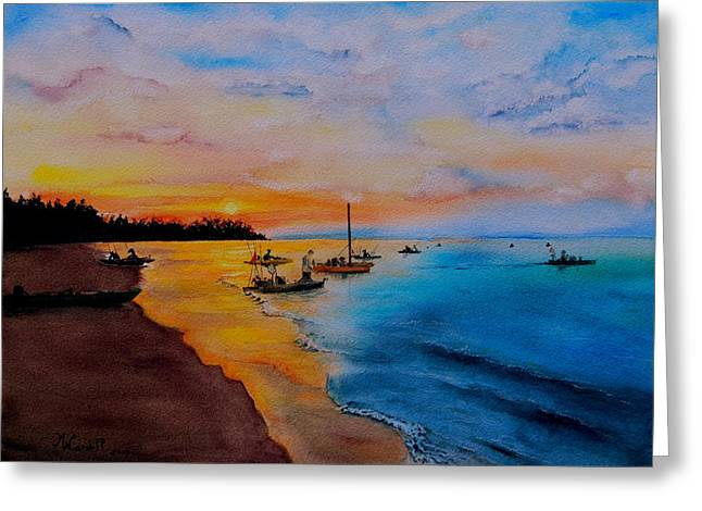 Battle In The Bahamas Greeting Card by Martine Wardill