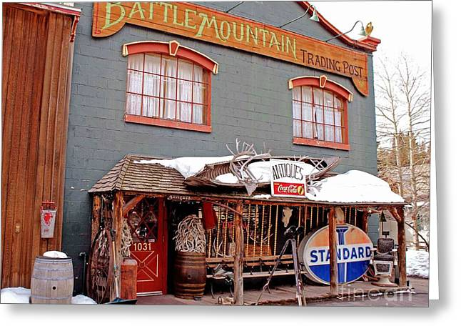 Battle Mountain Trading Post Greeting Card by Fiona Kennard