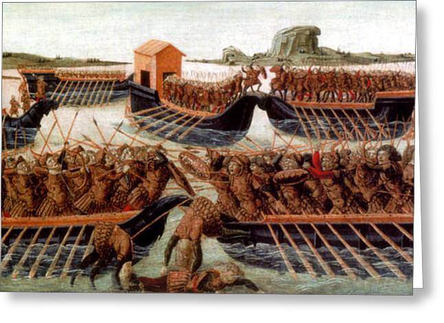 Battle Of Actium, 31 Bc Greeting Card by Photo Researchers