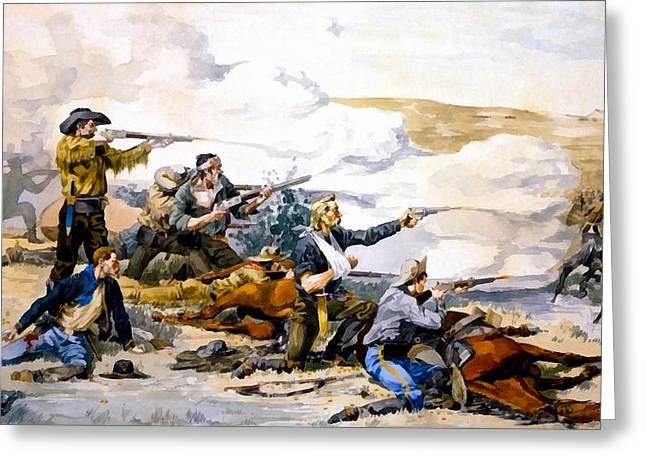 Battle Of Beechers Island Greeting Card by Frederic Remington