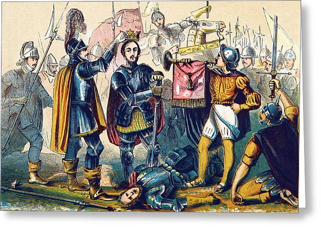 Battle Of Bosworth, Henry Vii Crowning Greeting Card by British Library