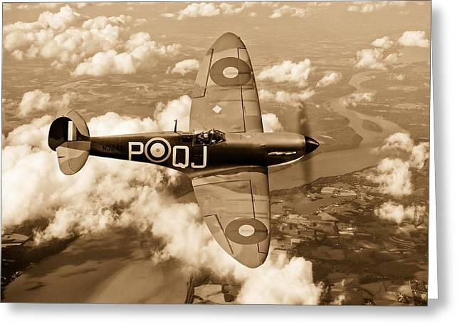 Battle Of Britain Spitfire Sepia Version Greeting Card by Gary Eason
