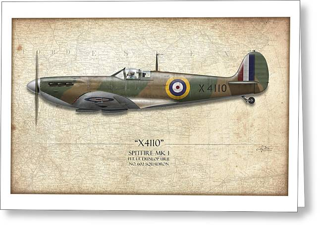 Battle Of Britain Spitfire X4110 - Map Background Greeting Card by Craig Tinder