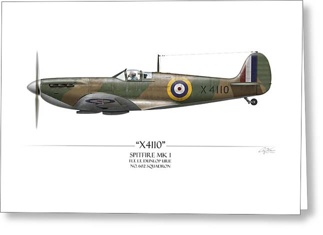 Battle Of Britain Spitfire X4110 - White Background Greeting Card by Craig Tinder