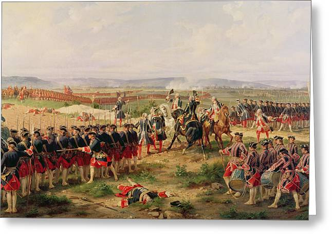 Battle Of Fontenoy, 11 May 1745 The French And Allies Confronting Each Other Greeting Card by Felix Philippoteaux