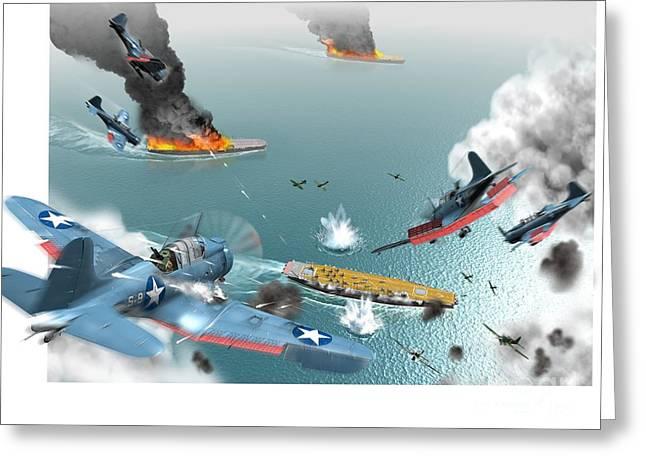 Battle Of Midway, World War II, 1942 Greeting Card by Jose Antonio Pe??as