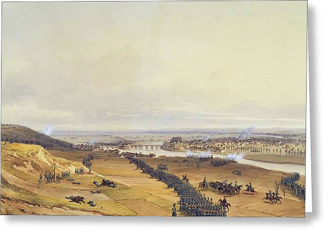 Battle Of Montereau, 18th February 1814, 1840 Wc On Paper Greeting Card by Jean Antoine Simeon Fort