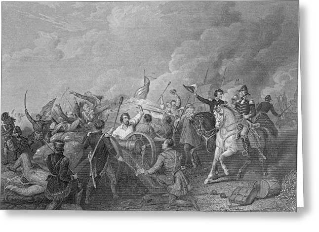 Battle Of New Orleans, 8th January 1815, From Gleasons Pictorial, 1854 Engraving B&w Photo Greeting Card