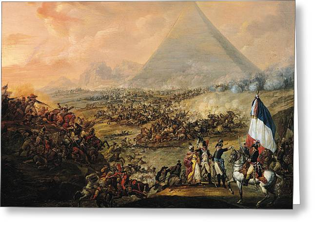 Battle Of Pyramids, 21 July 1798 Oil On Canvas Greeting Card