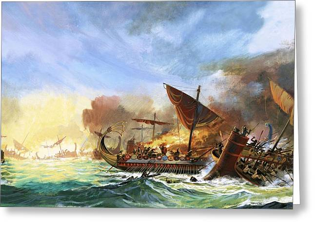 Battle Of Salamis Greeting Card by Andrew Howat