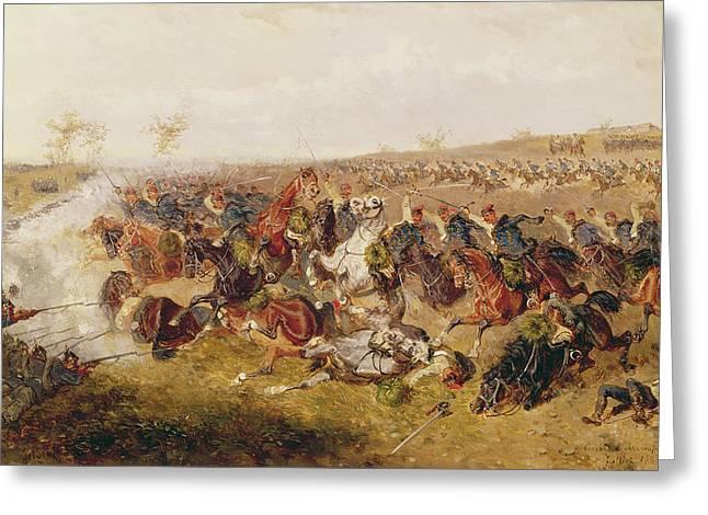 Battle Of Schweinschaedel, 29th July 1866 Oil On Canvas Greeting Card by Alexander Ritter von Bensa