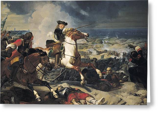 Battle Of The Dunes, 14th June 1658, 1837 Oil On Canvas Greeting Card by Charles-Philippe Lariviere