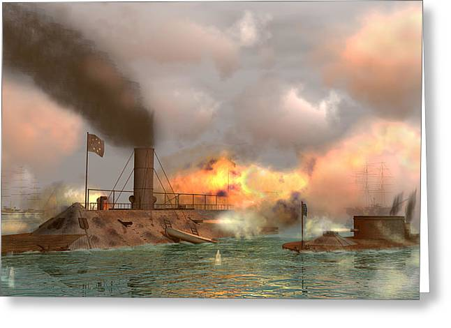 Battle Of The Ironclads Greeting Card