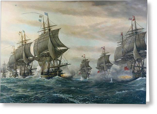 Battle Of Virginia Capes Greeting Card by Celestial Images