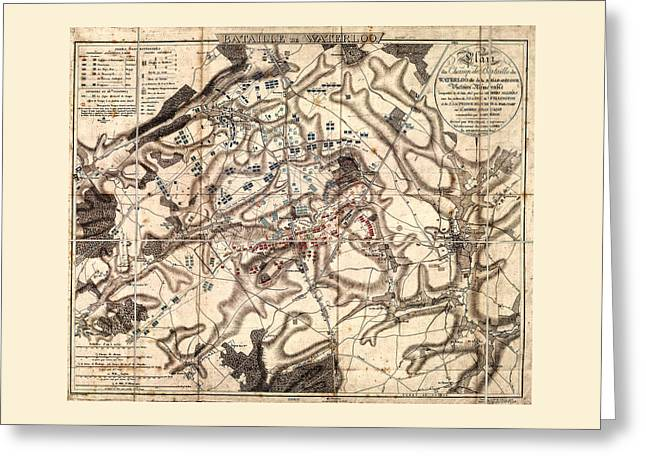 Battle Of Waterloo Old Map Greeting Card