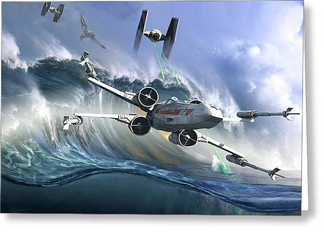Battle On The Fictional Ocean Planet Greeting Card by Kurt Miller