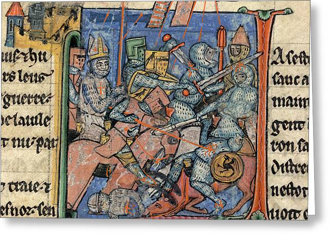 Battle Scene Outside Antioch Greeting Card by British Library